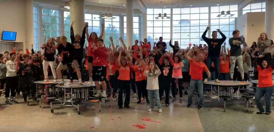 Screen shots from the Ridgefield High School's lip sync challenge video on YouTube. Photo: Contributed