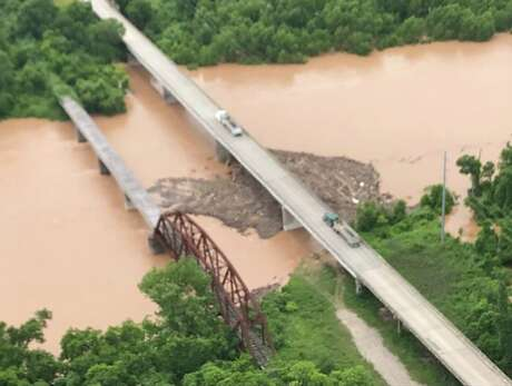"""A logjam on the Brazos River at FM 1093 on Wednesday, May 9, 2019, is a """"growing concern,"""" according toFort Bend County Sheriff's Office Major Chad Norvell."""
