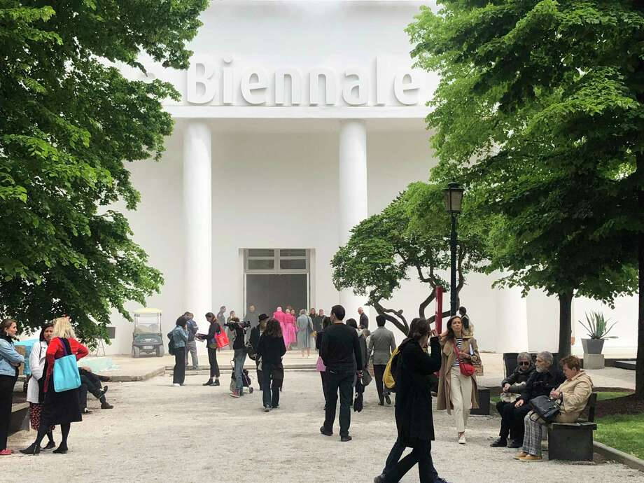 The Central Pavilion of Venice Biennale already gathers a crowd before the official opening of the biannual event, the premiere gathering of the international art world. Photo: Washington Post Photo By Philip Kennicott / The Washington Post