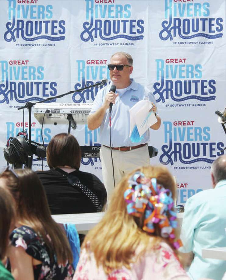 Brett Stawar, president and CEO The Great Rivers and Routes Tourism Bureau, speaks at a Rally for Tourism by The Great Rivers & Routes Tourism Bureau at Collinsville Aqua Park. Photo: Scott Cousins | Hearst Illinois