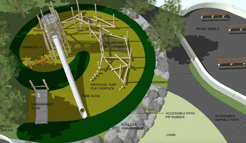 A rendering gives an aerial view of the planned playground renovation at McLaren Park.
