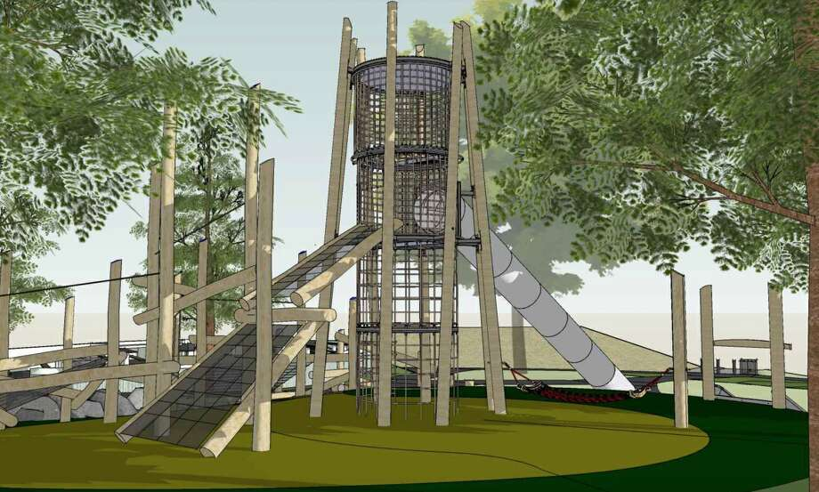A rendering highlights the net climbing structure that's part of the planned playground renovation at McLaren Park. Photo: CMG Landscape Architecture