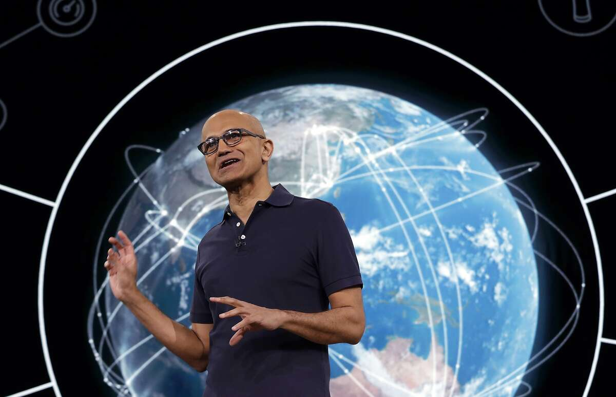 Microsoft CEO Satya Nadella delivers the keynote address at Build, the company's annual conference for software developers, Monday, May 6, 2019, in Seattle. (AP Photo/Elaine Thompson)