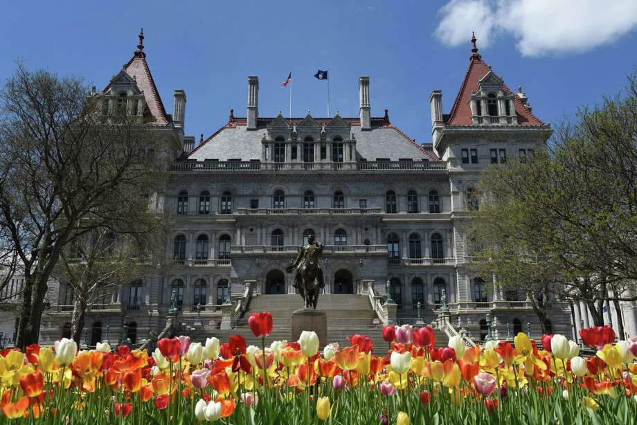 Tulips bloom in front of the Capitol on Wednesday, May 8, 2019, in Albany, N.Y. (Will Waldron/Times Union) Photo: Will Waldron, Albany Times Union
