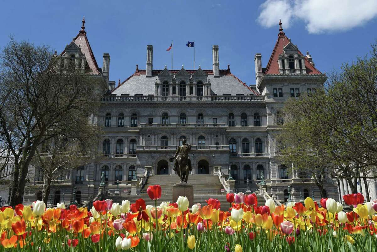 Tulips bloom in front of the Capitol on Wednesday, May 8, 2019, in Albany, N.Y. (Will Waldron/Times Union)