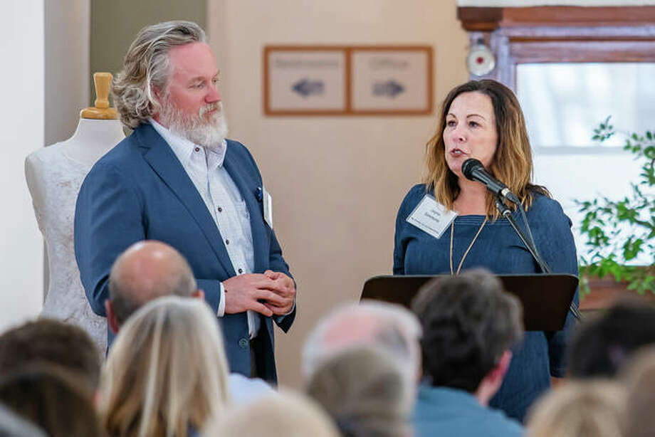 Jayne and John Simmons share their vision for downtown Alton at Alton Main Street's quarerly What's Up Downtown meeting this past Tuesday at Jacoby Arts Center. Photo: Nathan Woodside | The Telegraph