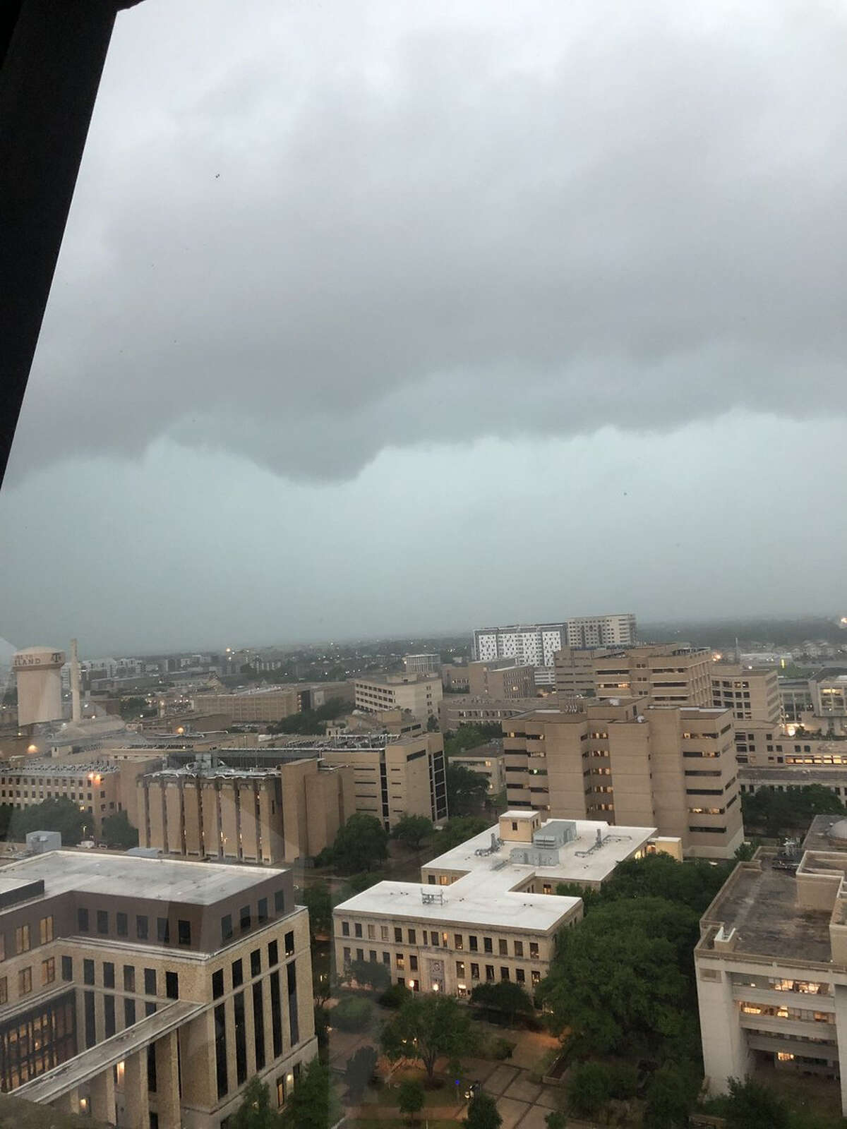 Photo from Texas College Station shows the tornadic thunderstorm moving through the area Wednesday.
