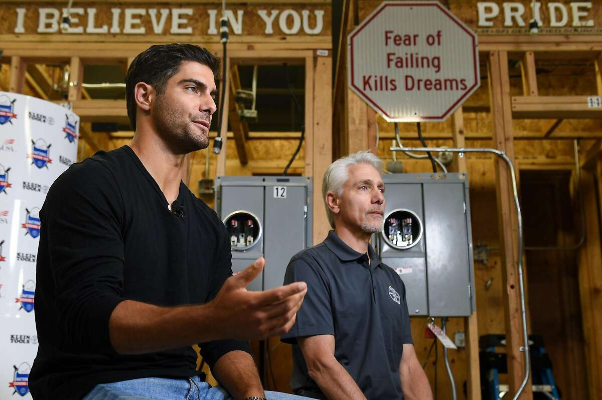 San Francisco 49ers quarterback Jimmy Garoppolo and his father Tony, a former electrician, are interviewed after attending the Inaugural National Signing Day celebrating high school seniors entering skilled trades at Silicon Valley Career Technical Education in San Jose on Monday May 8, 2019.
