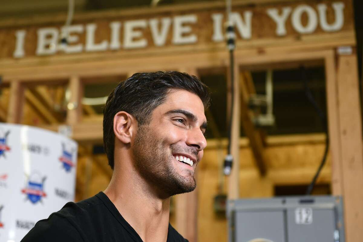 San Francisco 49ers quarterback Jimmy Garoppolo attends the Inaugural National Signing Day celebrating high school seniors entering skilled trades at Silicon Valley Career Technical Education in San Jose on Monday May 8, 2019.