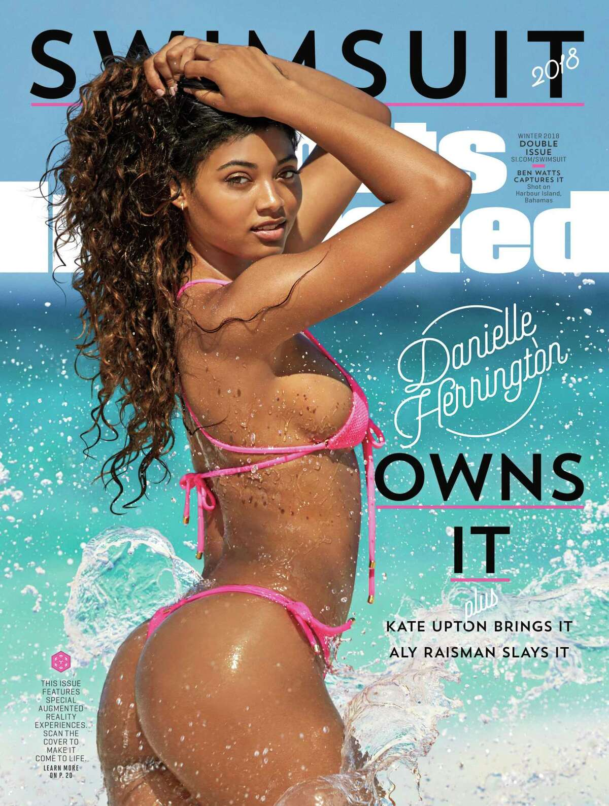 This image provided by Sports Illustrated shows the cover for the 2018 swimsuit edition issue of the magazine, showing Danielle Herrington. The magazine revealed its swimsuit edition cover Tuesday, Feb. 13, 2018. (Ben Watts/Sports Illustrated via AP)