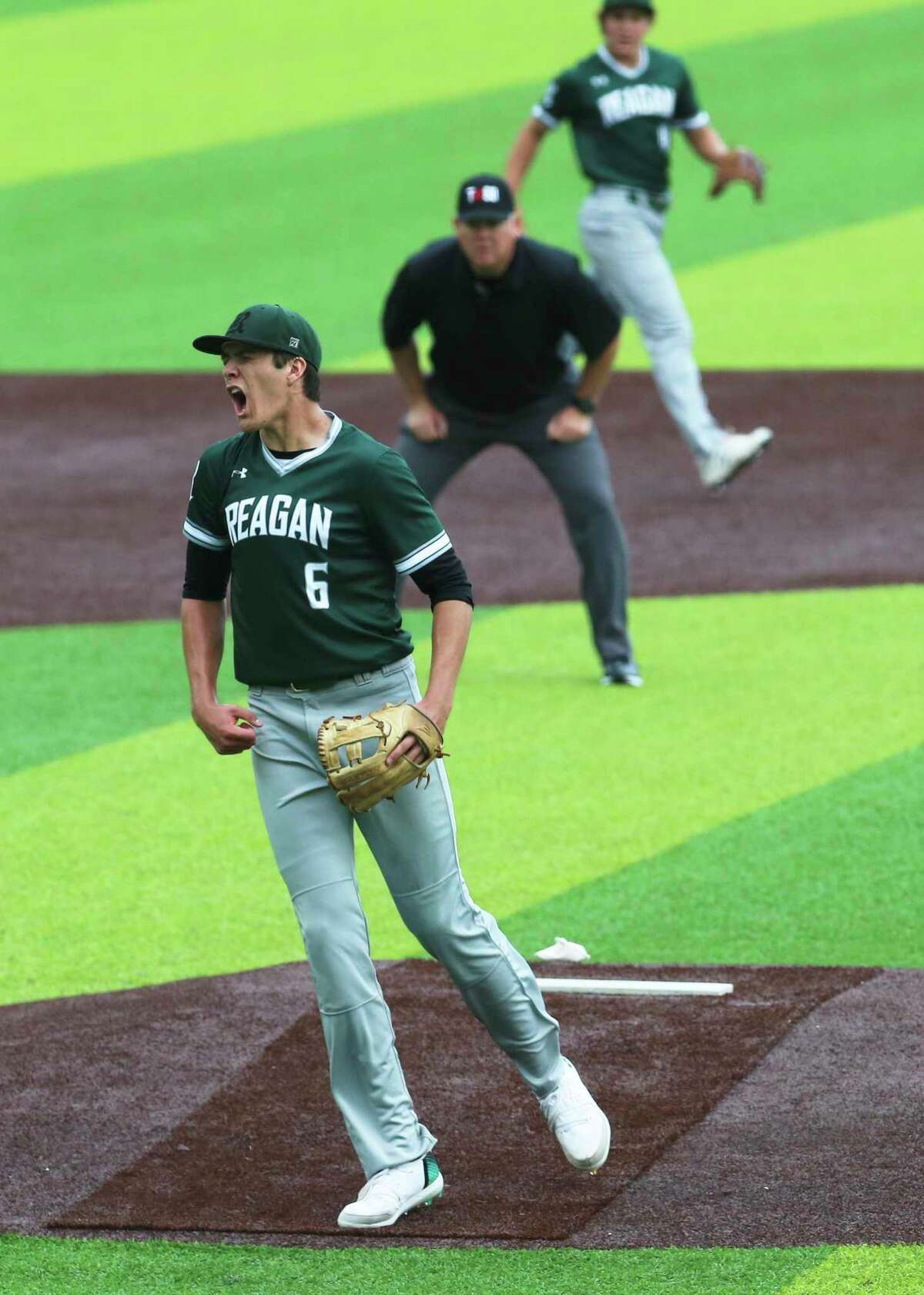 Reagan pitcher Will Carsten (6) reacts after getting his sixth strikeout at the end of the third inning against O'Connor in Game 2 of their best-of-3 first-round baseball playoff series at North East Sports Park on May 3, 2019.