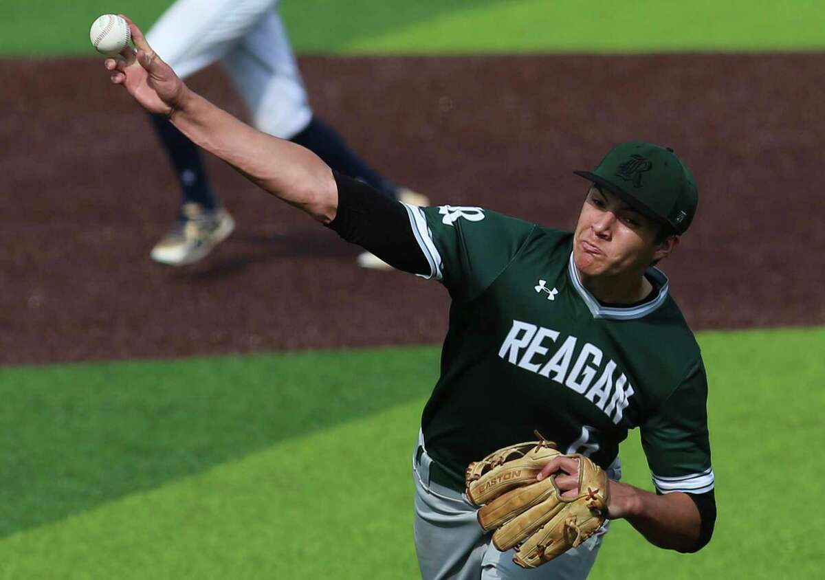 Reagan pitcher Will Carsten hurls a pitch against O'Connor in Game 2 of their best-of-3 first-round baseball playoff series at North East Sports Park on May 3, 2019.