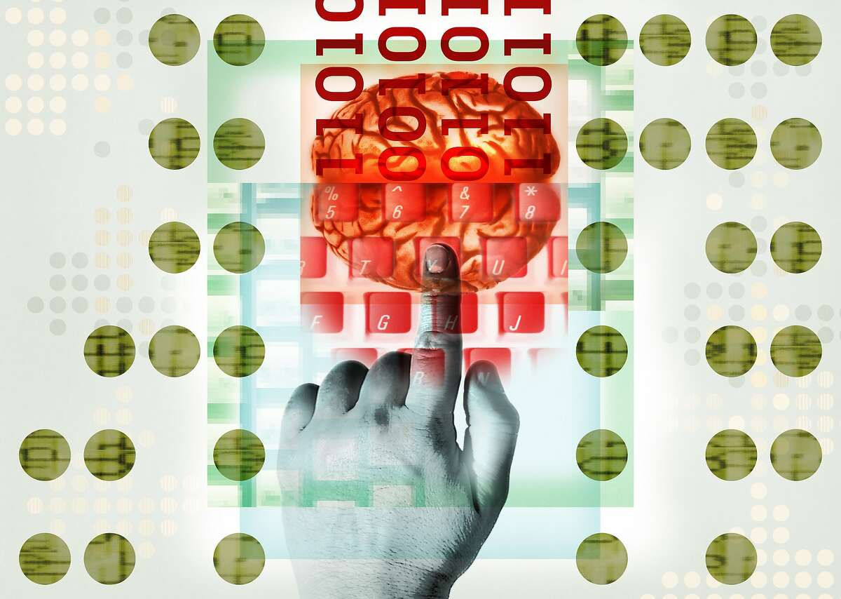 ILLUSTRATION. A brain generates data after receiving instruction from a keyboard.
