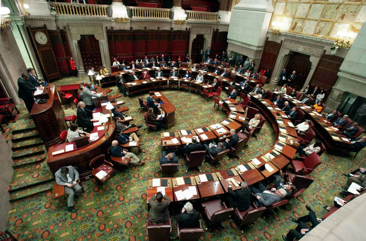 State senators considers legislation, Wednesday, May 8, 2019, at the Capitol in Albany, N.Y., that authorizes state tax officials to release, if requested, individual New York state tax returns to Congress. The bill now goes to the Democrat-led state Assembly after the Democrat-controlled Senate easily passed it.