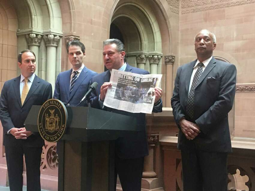 Sen. Joe Addabbo, a Queens Democrat, argues that New York needs to embrace online sports wagering and complains about how far ahead New Jersey is on the issue during a Capitol press conference on Wednesday, May 8 (David Lombardo / Times Union)
