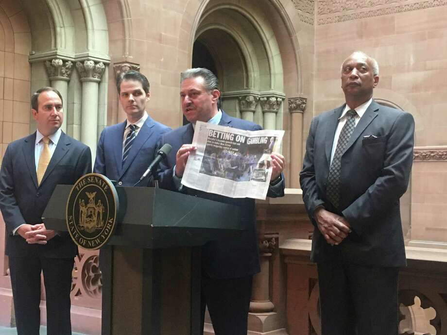 Sen. Joe Addabbo, a Queens Democrat, argues that New York needs to embrace online sports wagering and complains about how far ahead New Jersey is on the issue during a Capitol press conference on Wednesday, May 8 (David Lombardo / Times Union) Photo: (David Lombardo / Times Union)
