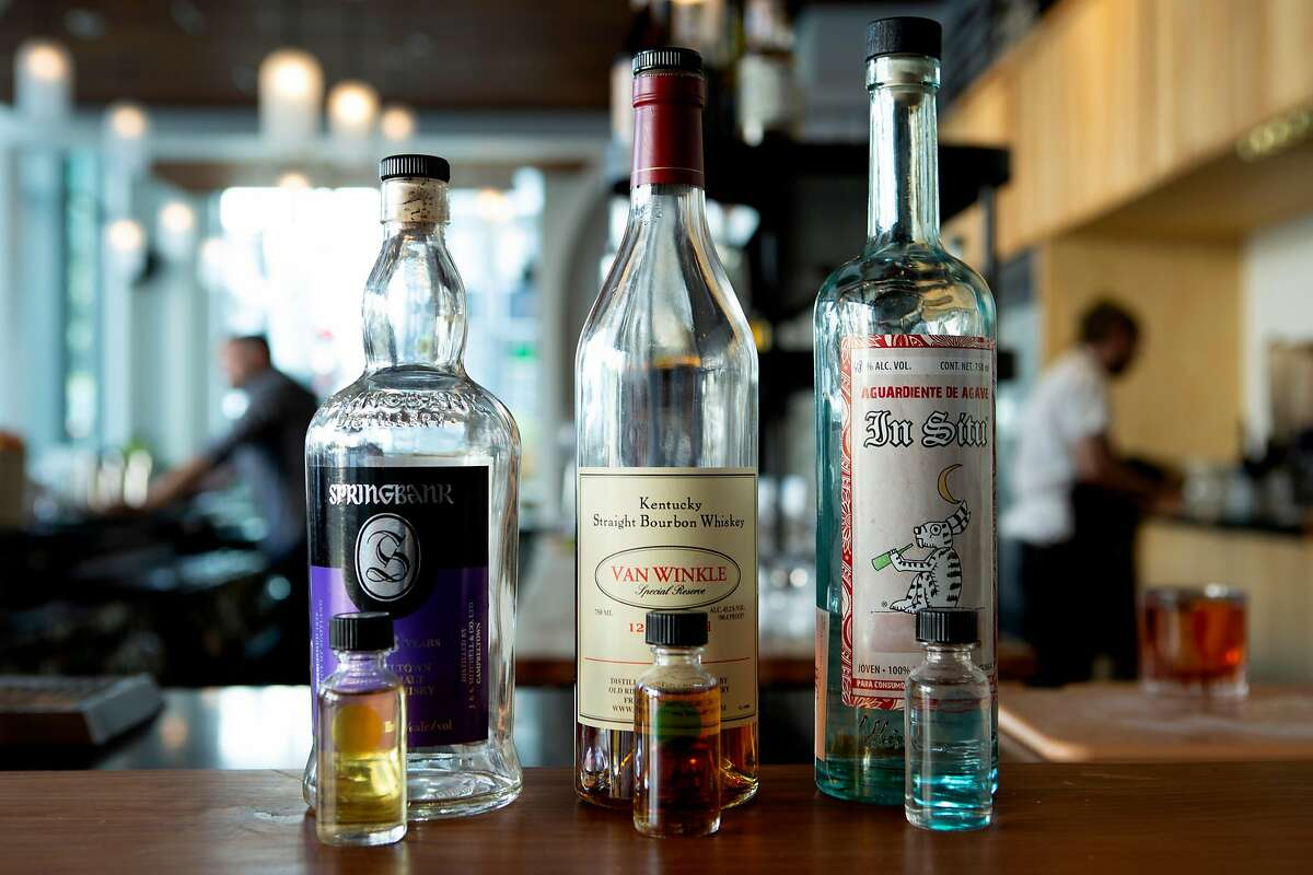 The single-serve bottles from the Wee Dram menu at Nommo on Tuesday, May 7, 2019, in San Francisco, Calif.