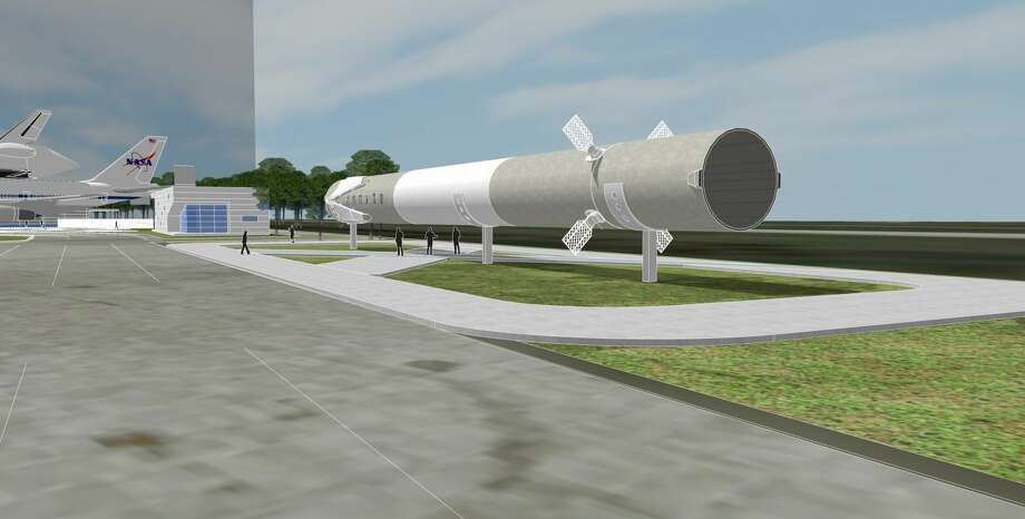 Pictured here is an artist's rendering of SpaceX's Falcon 9 booster on display at Space Center Houston, the museum side of Johnson Space Center. The rocket was donated by SpaceX and is one of only two Falcon 9 boosters on display. The booster will arrive this summer and will be the museum's first commercial exhibit. Photo: Credit: Space Center Houston