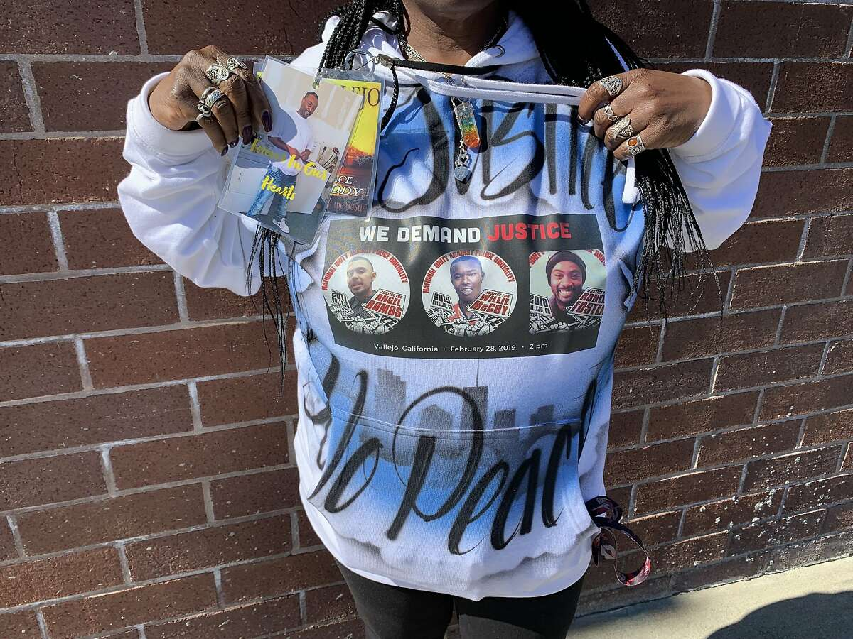 Paula McGowan, mother of Ronell Foster, wears a sweatshirt with the names of people killed in Vallejo police shootings in recent years.