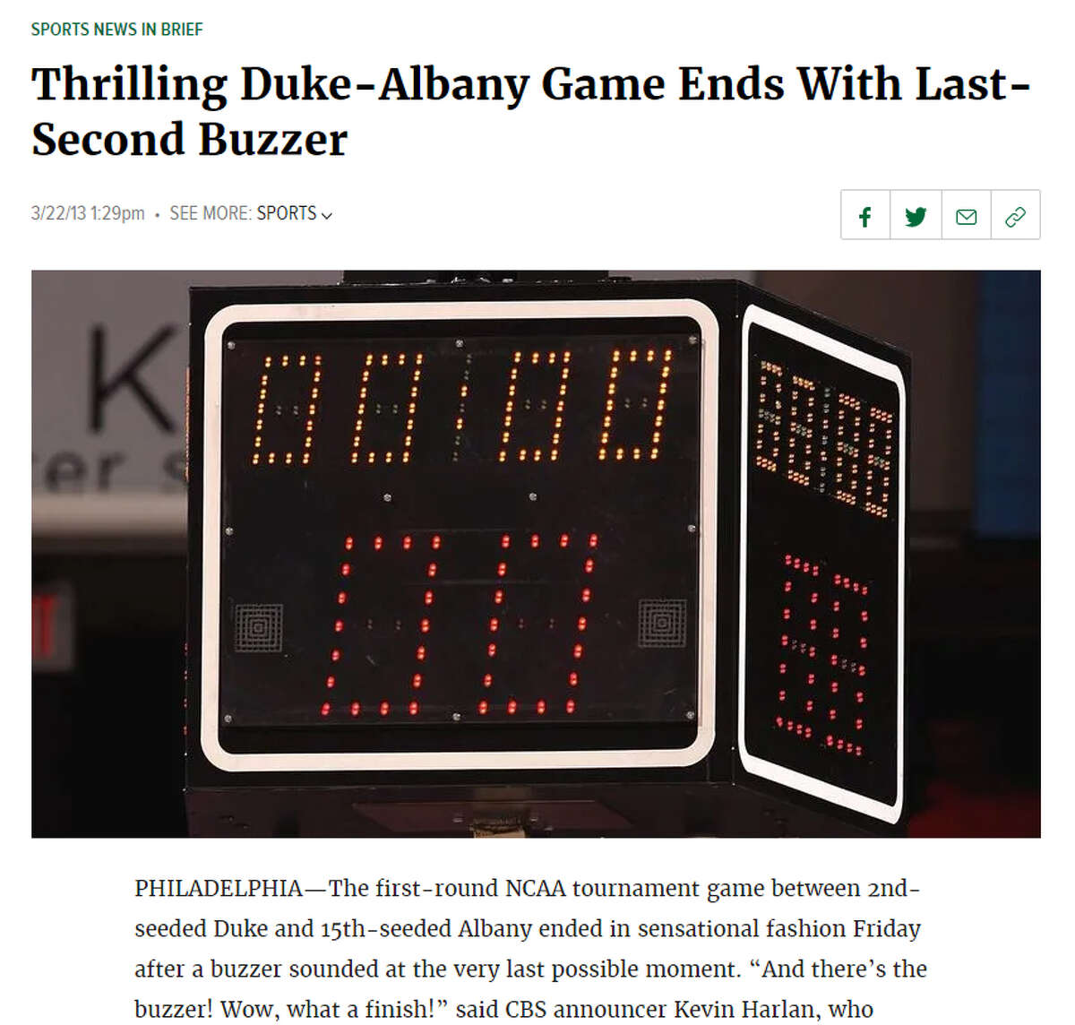 Story: Thrilling Duke-Albany Game Ends With Last-Second Buzzer Excerpt: