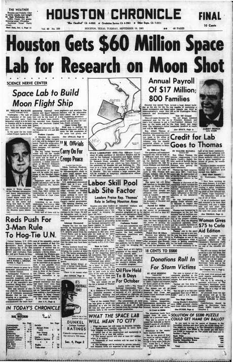 "The front page of the September 19, 1961 Houston Chronicle reads, ""Houston Gets $60 Million Space Lab for Research on Moon Shot."" (Houston Chronicle)"