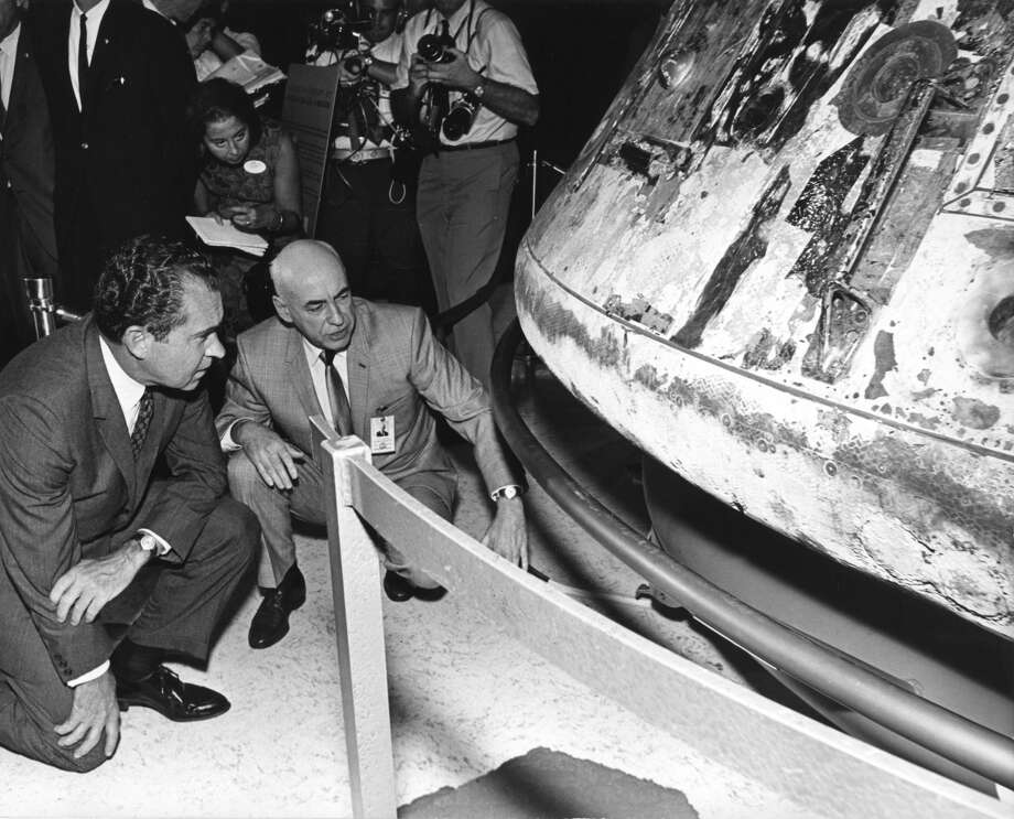 Manned Spacecraft Center director Dr. Robert Gilruth briefs GOP candidate Richard Nixon during tour of center Sept. 6, 1968. The Candidate Made Tour of Spacecraft Center After Arrival Friday afternoon. Photo: Staff File Photo