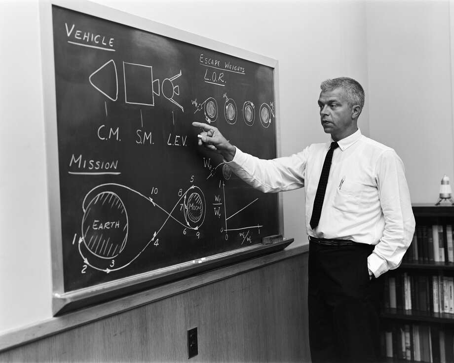 "In the early days of the moon race, NASA engineer John Houbolt explains how men would get to the moon and back using ""lunar orbit rendezvous."" Houbolt pushed NASA hard for the concept and its adoption in 1962 laid the groundwork for success 7 years later. (NASA)"