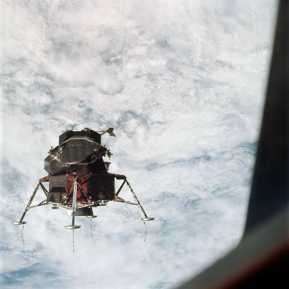 "A view of the Apollo 9 Lunar Module (LM) ""Spider"" in a lunar landing configuration, as photographed from the Command and Service Modules (CSM) on the fifth day of the Apollo 9 Earth-orbital mission March 7, 1969. The landing gear on the ""Spider"" has been deployed. Lunar surface probes (sensors) extend out from the landing gear foot pads. Inside the ""Spider"" were astronauts James A. McDivitt, Apollo 9 commander; and Russell L. Schweickart, lunar module pilot. (NASA)"