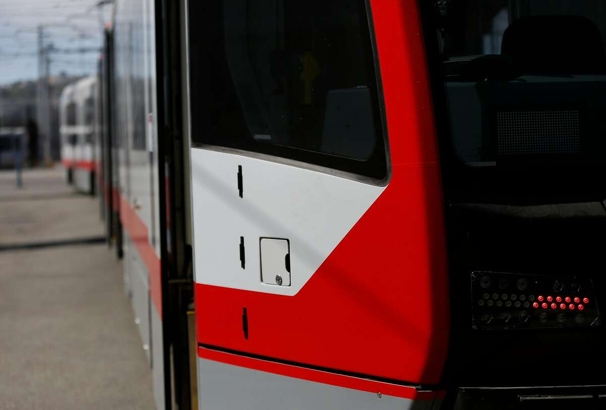 New LED lights pictured on the front of new MUNI trains as they sit on tracks at MUNI Metro East Maintenance Facility July 20, 2017 in San Francisco, Calif.