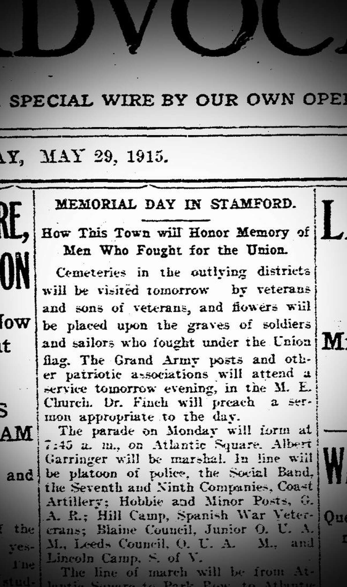 A Stamford Advocate preview of the Memorial Day Parade in 1915.