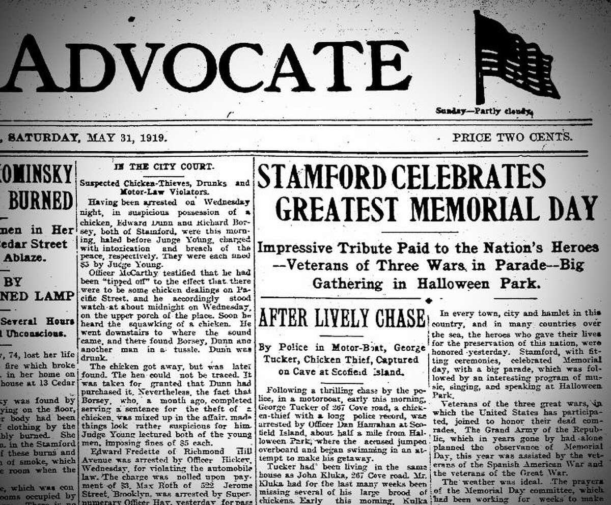 Stamford Advocate coverage of the 1919 Memorial Day Parade in Stamford, the first parade after the end of World War I.