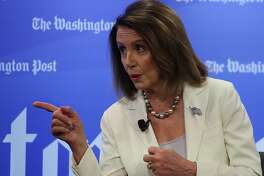 WASHINGTON, DC - MAY 08: House Speaker Nancy Pelosi (D-CA) speaks about the first 100 days of the 116th Congress during an interview with Robert Costa at the Washington Post, on May 8, 2019 in Washington, DC. (Photo by Mark Wilson/Getty Images)