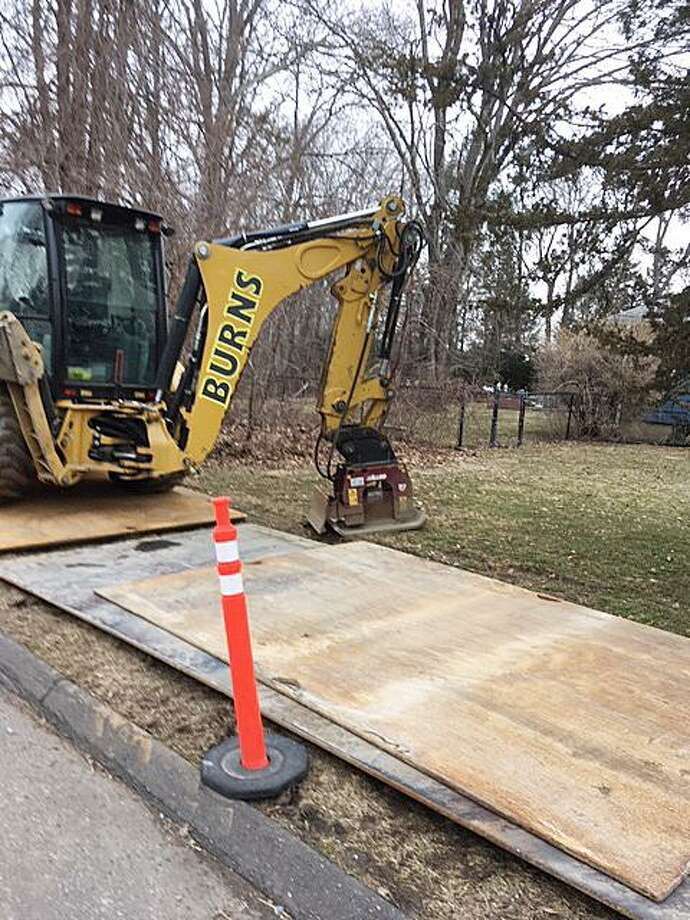 Steve Wolfe's yard on Prudence Drive in Stamford. Wolfe tried unsuccessfully to file a complaint on FixItStamford, only to learn that a utility company, not the city, hired a a contractor to do the work. Photo: Steve Wolfe / Contributed Photo / Stamford Advocate contributed