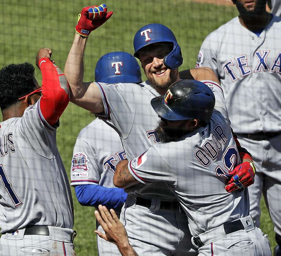 The season is still young, but former Giant Hunter Pence is having something of a offensive renaissance in Arlington with the Texas Rangers . Photo: Gene J. Puskar / Associated Press