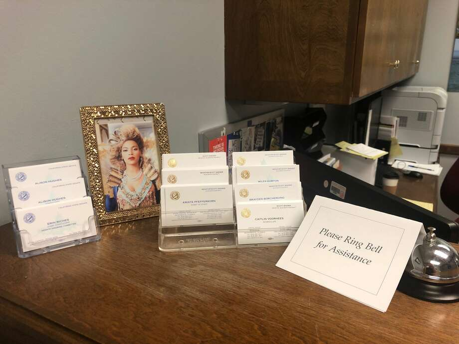 A framed photo of Beyoncé graces the front desk of Sen. Scott Wiener's office at the State Capitol. Photo: Victor Ruiz-Conejo