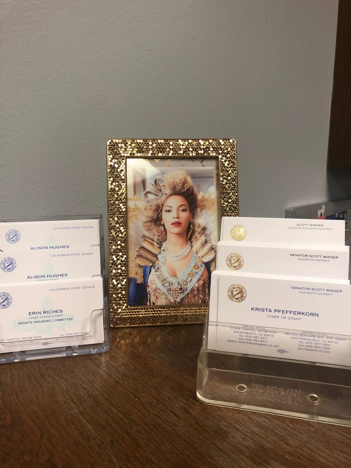 A framed photo of Beyoncé graces the front desk of Sen. Scott Wiener's office at the State Capitol.