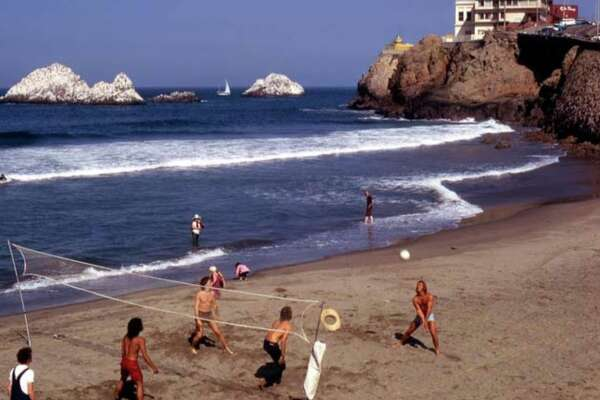 A game of volleyball at Kelly's Cove in 1972.