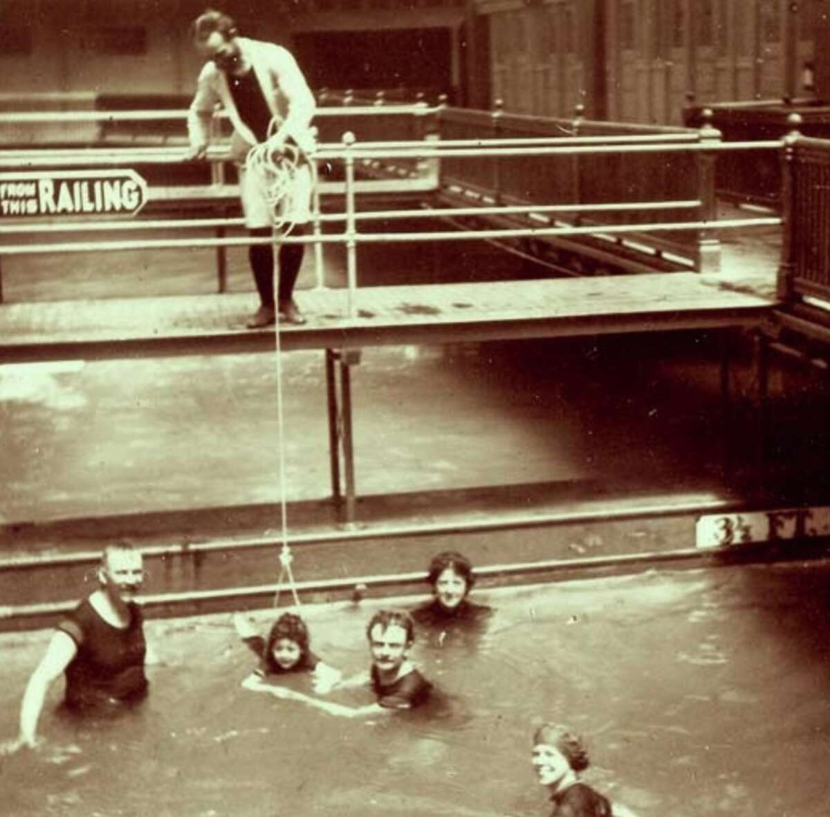 1898: A swim lesson at Sutro Baths with a flotation system you don't see around anymore.