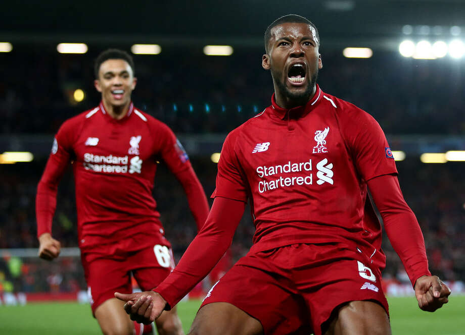 Georginio Wijnaldum celebra el tercer gol del triunfo del Liverpool por 4-0 sobre Barcelona en Anfield. Photo: Clive Brunskill / Getty Images