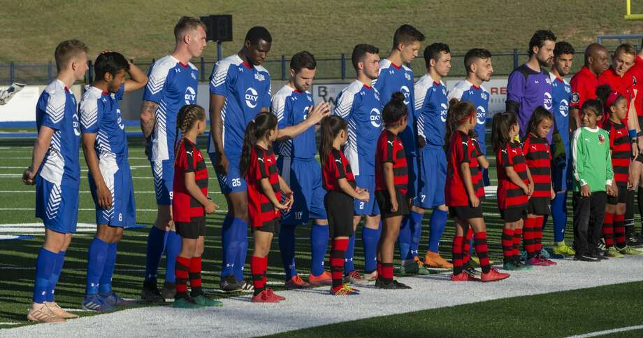 Sockers FC players line up for introductions 05/08/19 before the match against FC Denver at Grande Communications Stadium. Tim Fischer/Reporter-Telegram Photo: Tim Fischer/Midland Reporter-Telegram