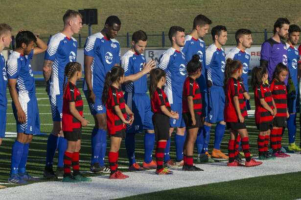 Sockers FC players line up for introductions 05/08/19 before the match against FC Denver at Grande Communications Stadium. Tim Fischer/Reporter-Telegram