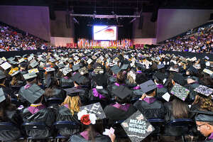 Students and faculty participate in TAMIU's Spring 2019 Commencement ceremony on Wednesday, May 8, 2019, at the Sames Auto Arena.