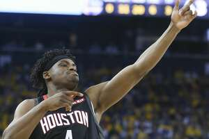 Houston Rockets forward Danuel House Jr. (4) makes a gesture after hitting a three-point shot in the first half of Game 1 of the NBA playoffs against Golden State Warriors at the Oracle Arena on Sunday, April 28, 2019 in Oakland.