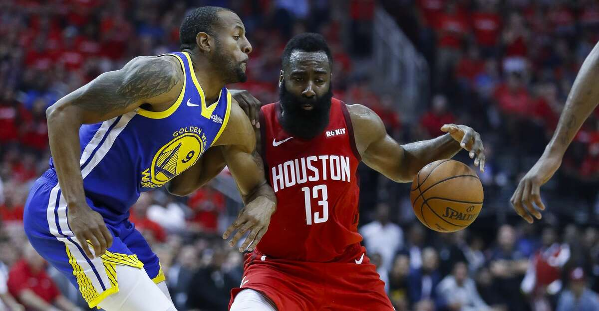 Andre Iguodala, guarding James Harden in the playoffs, could be a Rockets trade target after he was sent to Memphis by the Warriors.