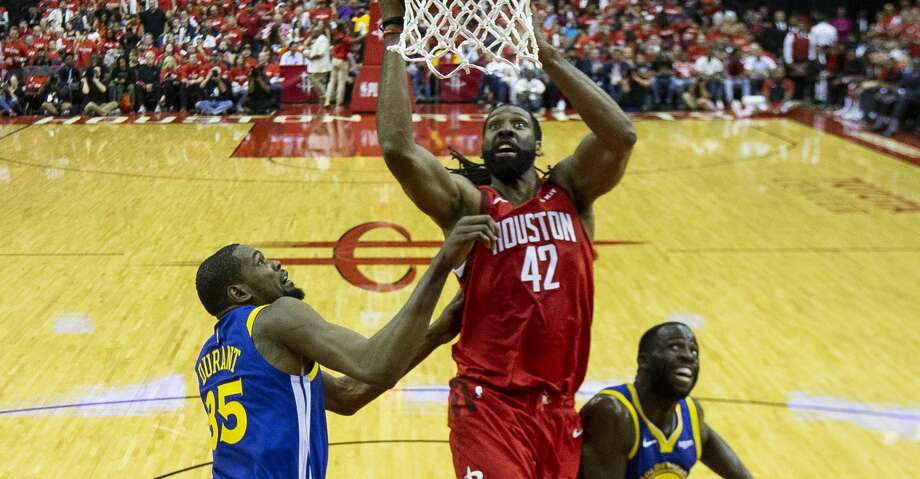 PHOTOS: Rockets game-by-game Houston Rockets center Nene (42) shoots over Golden State Warriors forward Kevin Durant (35) and forward Draymond Green (23) during Game 3 of the Western Conference semifinals at Toyota Center in Houston, Saturday, May 4, 2019. Browse through the photos to see how the Rockets fared in each game this season. Photo: Elizabeth Conley/Staff Photographer