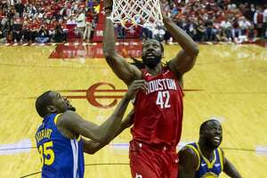 Houston Rockets center Nene (42) shoots over Golden State Warriors forward Kevin Durant (35) and forward Draymond Green (23) during Game 3 of the Western Conference semifinals at Toyota Center in Houston, Saturday, May 4, 2019.