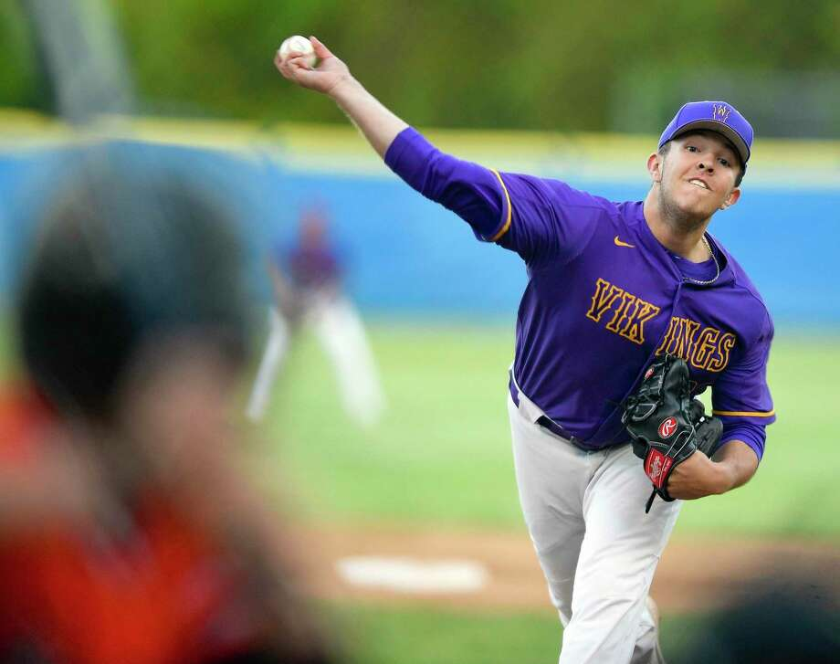 Westhill pitcher Montana Semmel (23) delivers a pitch in the first inning against Stamford in a city championship baseball game at Cubeta Stadium on May 8, 2019 in Stamford, Connecticut. Semmel struck out 11 batters to help the Vikings in their 6-0 shutout over the Black Knights. Photo: Matthew Brown / Hearst Connecticut Media / Stamford Advocate