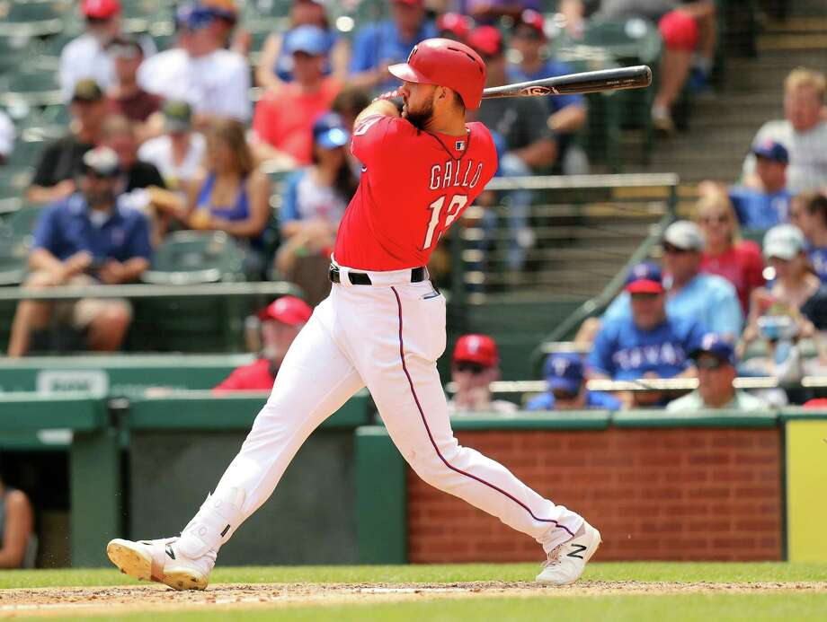 Rangers slugger Joey Gallo brings a .274/.426/.679 slash line and 12 home runs into the four-game series with the Astros. Photo: Richard Rodriguez, Stringer / Getty Images / 2019 Getty Images