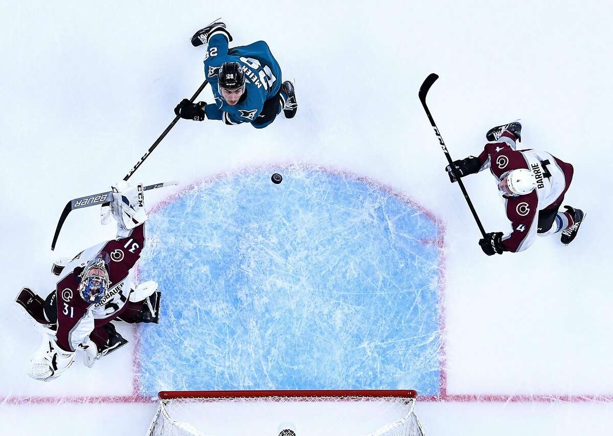SAN JOSE, CA - MAY 08: An overhead view as Timo Meier #28 of the San Jose Sharks looks up for the puck against Tyson Barrie #4 and Philipp Grubauer #31 of the Colorado Avalanche in Game Seven of the Western Conference Second Round during the 2019 NHL Stanley Cup Playoffs at SAP Center on May 8, 2019 in San Jose, California (Photo by Brandon Magnus/NHLI via Getty Images)