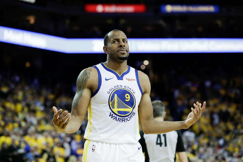 Golden State Warriors Andre Iguodala reacts in the fourth quarter during game 5 of the Western Conference Semifinals between the Golden State Warriors and the Houston Rockets at Oracle Arena on Wednesday, May 8, 2019 in Oakland, Calif.